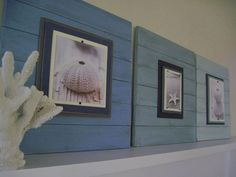 Picture Frames, love the painted back board used for these pictures