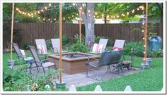 DIY Party posts for lights or streamers on the patio slab.