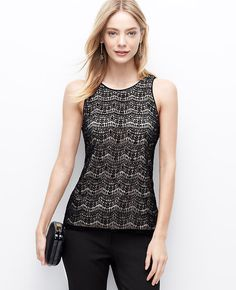 Lace Embellished Shell, pair it with metallic accessories to add some sparkle  l Ann Taylor