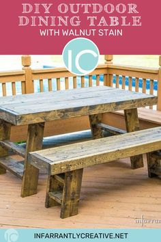 Learn how to build a DIY outdoor dining table, perfect for outdoor dining. Outdoor patio furniture on a budget.