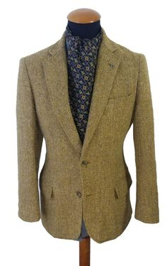 Men's BROOKS BROTHERS Wool TWEED Blazer 38S Sport Coat Jacket Madison Yellow #BrooksBrothers #TwoButton