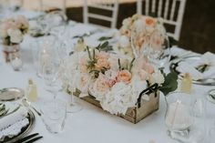 Peach Flowers in Crates | Suzanne Neville Wedding Dress For A Pastel Themed Destination Wedding In Italy At Villa di Ulignano Planned by Italy Weddings With Images by Quattro Studio