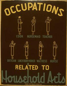 """Occupations Household Arts"", WPA silkscreen poster,  Artist	 Peter Radin,  Publisher	Federal Art Project in Ohio, WPA  ,1938"