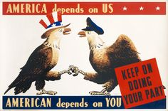 America depends on us - American depends on you by Artist Unknown (1942) | Shop original vintage posters online: www.internationalposter.com