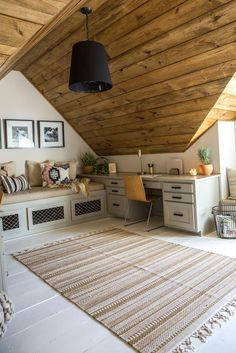 Fixer Upper Season, home office in attic makeover, adding a home office to an attic bonus room design with window seat, kid playroom and desk area in rustic attic Home Office Design, Home Office Decor, Home Design, Home Decor, Office Ideas, Office Furniture, Furniture Ideas, Office Designs, Attic Design