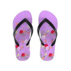 Pink Red Floral Rose Print Unisex Flip-Flops Beach Pool Cute Sandals- Made in USA | Heidi Kimura Art LLC Floral Flip Flops, Cute Flip Flops, Beach Flip Flops, Flip Flop Shoes, Floral Sandals, Cute Sandals, Floral Print Shoes, Floral Prints, Designer Flip Flops