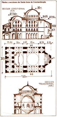 Planta y secciones de Santa Irene de Constantinopla.