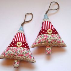 Pair of Christmas Tree Decorations - Simple strip quilt.