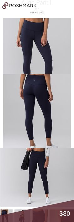 Lululemon midnight navy align pants in size 4! Hi!! I'm looking to sell these lululemon midnight navy align 7/8 pants! They've been used maybe 2 times (if that). I got them as a gift a little bit ago and I don't like the way they look on me. I will post pictures of them later but they've only been used a couple times so they're in like-new shape! 😊 if you have any questions please ask!! lululemon athletica Pants Leggings