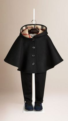 Girl's Burberry Check Lined Wool Cape