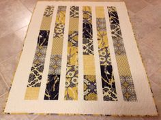 Aviary 2 Lap or Baby Quilt yellow gray by ModernMaterialGirl