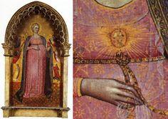 Vierge parturiente et les Vertus, École florentine, XIVe siècle, détrempe sur bois, 106,5x58,5 cm. Pinacothèque du Vatican, inv. 40520