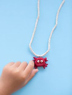 How to Make a Cute Clay Crab Necklace for Kids.