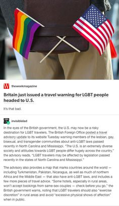 The British government now issues warnings to LGBT people travelling in rural areas (due to dangerous, primitive Christians, who may grunt and hurl their feces, or even refuse same-sex couples the thrill of staying in their cockroachy motels). This is embarrassing. Then there are the mass shooters, the trigger-happy cops, the blatant racism, the hungry, abused homeless in every city. What a dump.