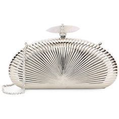 Judith Leiber Large Ribbed Metal Half Oval Clutch (64.225 RUB) ❤ liked on Polyvore featuring bags, handbags, clutches, clasp handbag, man bag, judith leiber purses, white handbag and metallic purse