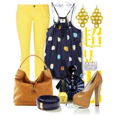 Navy, yellow and polka dots, created by luchenskil on Polyvore