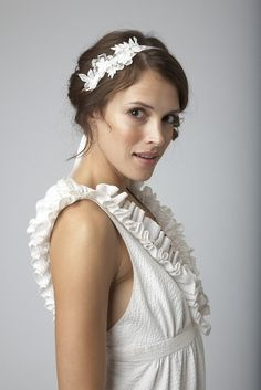Vintage lace trim bridal headband on off white by UntamedPetals, $48.00
