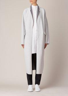 Y's by Yohji Yamamoto Classic Car Coat (Light Grey)