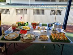 Dino bday party - savoury food table.