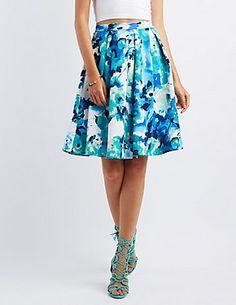 Abstract Floral Print Midi Skirt #CharlotteLook