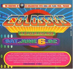 Rave flyer - COLOSSUS - Southern Ca 1992. Flyer by Mpyre Grafx [ Mel Marchello ] opens up with a pop  up figure.