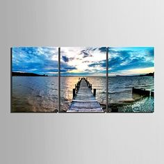 Stretched+Canvas+Art+The+Coast+Decorative+Painting+Set+of+3+–+AUD+$+97.23
