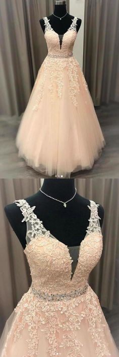 Floor Length V Neck Sleeveless Tulle Prom Dress With Appliques, Puffy Quinceanera, This dress could be custom made, there are no extra cost to do custom size and color