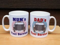 Mum's OR Dad's Taxi Service Mug by KyriosDesign on Etsy Taxi, Mugs, Tableware, Unique Jewelry, Handmade Gifts, Etsy, Vintage, Design, Kid Craft Gifts