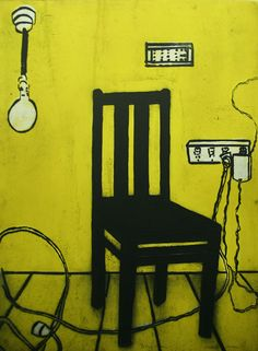 'Yellow Chair' Lithograph, 73 x 50cm Katherine Hattam, episode 2, Talking with Painters podcast