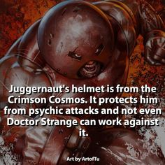 Describe Juggernaut with one word.  #juggernaut by marvelousfacts