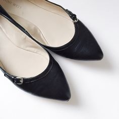 HP! Nine West - Black Pointed Flats Nine West black pointed toe flats. Matte black with black patent leather detail along with cute buckle at front. Good condition.  Offers welcome.  No trades.  Bundle for discount. Nine West Shoes Flats & Loafers