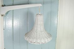 Vintage White Wicker Suspended Light  Retro Chippy by DivineOrders, $48.00