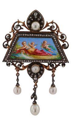 *French Antique Pearl Rose Cut Diamond Brooch Pendant. France circa 1870.
