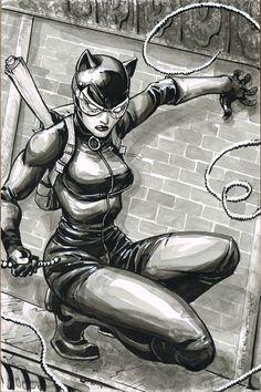 Catwoman by Freddie Williams II - Batman Poster - Trending Batman Poster. - Catwoman by Freddie Williams II Catwoman Cosplay, Batman Und Catwoman, Dc Batgirl, Batwoman, Batman Poster, Batman Art, Harley Quinn, Gotham City, Batman Painting