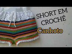 SHORT EM CROCHÊ-AULA PARA CANHOTO - YouTube Crochet Pants, Crochet Clothes, Short Tejidos, Crochet Woman, Short Skirts, Crochet Bikini, Beachwear, Free Pattern, Crochet Patterns