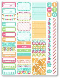 Sea Life Functional Kit Planner Stickers for Erin Condren Planner, Filofax, Plum…