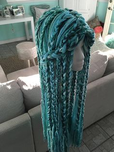 Your place to buy and sell all things handmade Crochet Mermaid hat, Uma inspired wig, Descendants 2 yarn wig, chemo wig Mermaid Wig, Crochet Mermaid, Crochet Beanie, Crochet Yarn, Crochet Wigs, Crochet Hood, Crocheted Hats, Yarn Projects, Crochet Projects