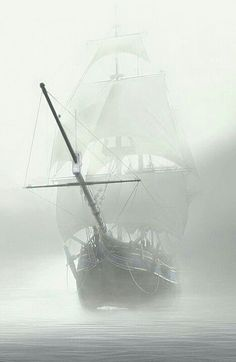 Ship sailing through fog Old Sailing Ships, Ghost Ship, Black Sails, Pirate Life, Ship Art, Tall Ships, Lighthouse, Pictures, Photos