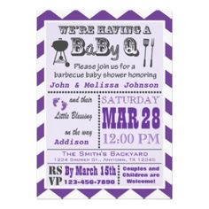 Purple Barbecue BaByQ Baby Shower Invitations. Perfect for the couple expecting a baby girl! What better way to celebrate than have a couples BBQ? It's a BaBy Q Barbeque!