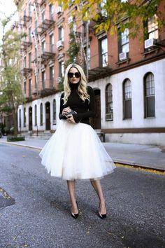 Pullover+kombinieren:+Prinzessinnenhaft+mit+Tüllrock+und+Pumps