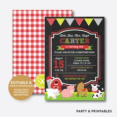 Farm Friends Red ... http://partyandprintables.com/products/farm-friends-red-chalkboard-kids-birthday-invitation-editable-instant-download-ckb-55b?utm_campaign=social_autopilot&utm_source=pin&utm_medium=pin #partyprintables #birthdayinvitation #partysupplies #partydecor #kidsbirthday #babyshower