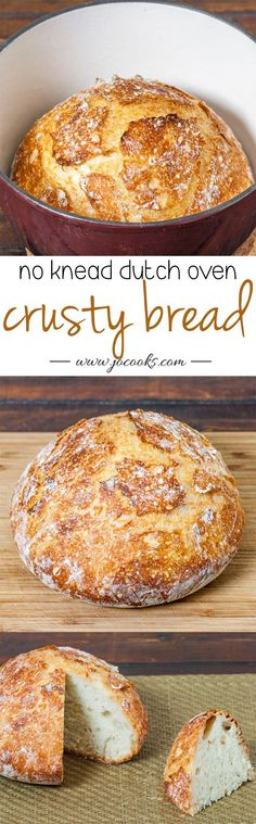 Crusty Bread – bake this easy to make bread in a cast iron pot and you have perfection, no kneading required, 4 simple ingredients—Love freshly baked bread!