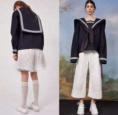 Maison Margiela 2019 Resort Cruise Womens Looks Cropped Wide Leg Trousers, Wide Leg Palazzo Pants, Sailor Collar, Leather Vest, Lookbook, Margiela, Blouse Styles, Toddler Outfits, Looking For Women