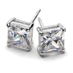 Sterling Silver Princess Cut Diamond CZ Stud Earrings .75ct 1.3ct 2.05ct 2.9ct 4.4ct 6ct