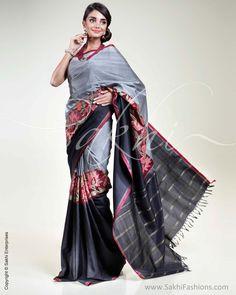 Black & Grey Kanchivaram Silk Saree | Sakhi Fashions