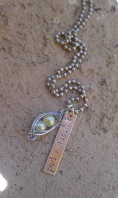 2 peas in a pod Dog Tag Necklace, Pearl Necklace, Dog Tags, Shower, Pearls, Jewelry, Rain Shower Heads, Jewlery, Jewels