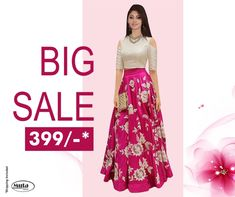 RESTOCKED On Popular Demand!. Get this Gown at only Rs 399/- only on www.mutafashion.com Lehenga, Saree, Jordan 7, Shop Till You Drop, Silk Gown, Secondary Color, Fabric Shop, Ladies Party, Trendy Outfits