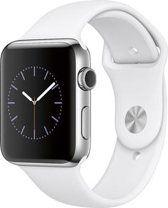 Apple - Apple Watch Series 2 42mm Stainless Steel Case White Sport Band - Stainless Steel