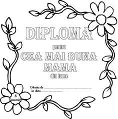 diploma pentru mama - Căutare Google 8 Martie, Spring Crafts, Dream Catcher, Diy And Crafts, Bullet Journal, Handmade, Spiral, Desktop, Classroom
