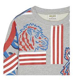 KENZO - Animal print cotton sweatshirt 4-16 years   Selfridges.com Wardrobes, Kenzo, Printed Cotton, Parisian, Stripes, Fashion Outfits, Sweatshirts, Sweaters, T Shirt
